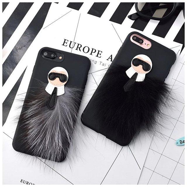 wholesale dealer 4d98b 8226c US $7.08 5% OFF|Luxury 3D Mr KarlLagerfeld Fur Skin soft case for iphone 6  6s 7 8 plus X 10 Storm Trooper Monopoly Lafayette Snake Tige cover-in ...