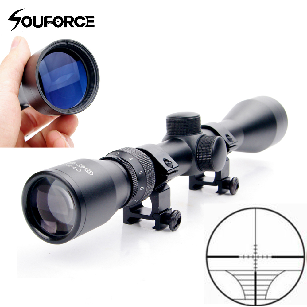 3-9x40 Mil Dot Air Riflescope Gun Ottica Sniper Scope Con 20 mm Rail Mount Scope Gun Accessorio per la Caccia