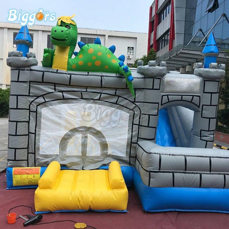 Combo gonflable gris de glissière de rebond de maison de rebond de château plein d'entrain pour des enfants