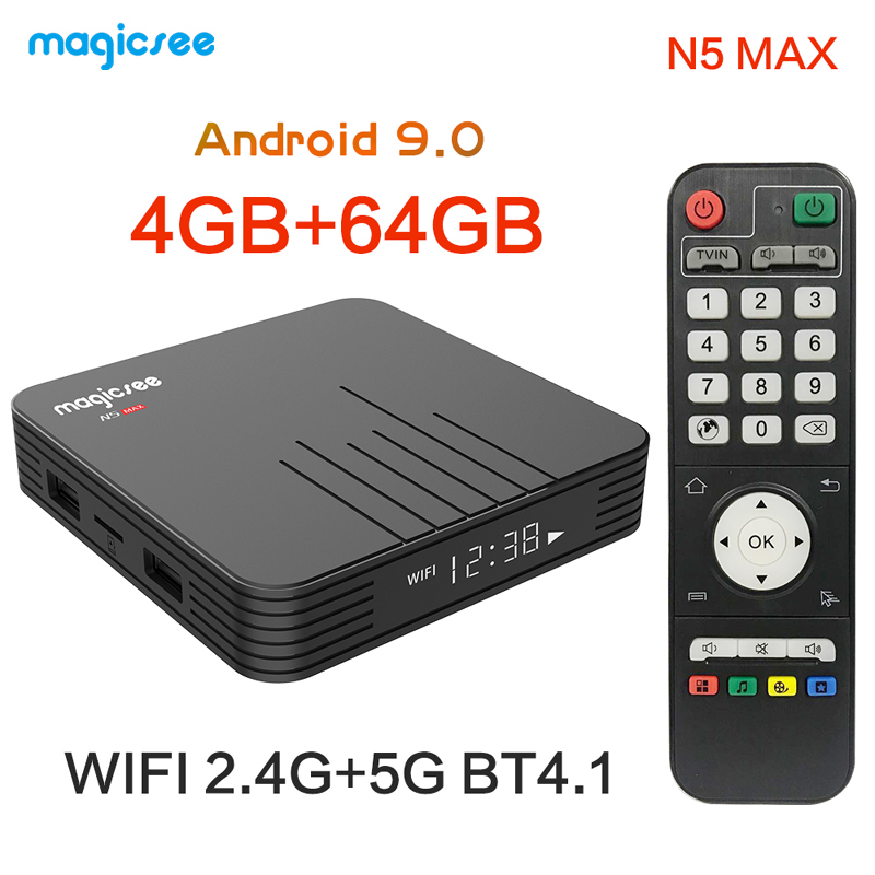 Magicsee N5 Max Android 9.0 TV Box 4GB 32GB 4G 64G Dual Band Wifi 2.4G/5G Bluetooth Media Player 1000M LAN USB 3.0 Mini PC(China)