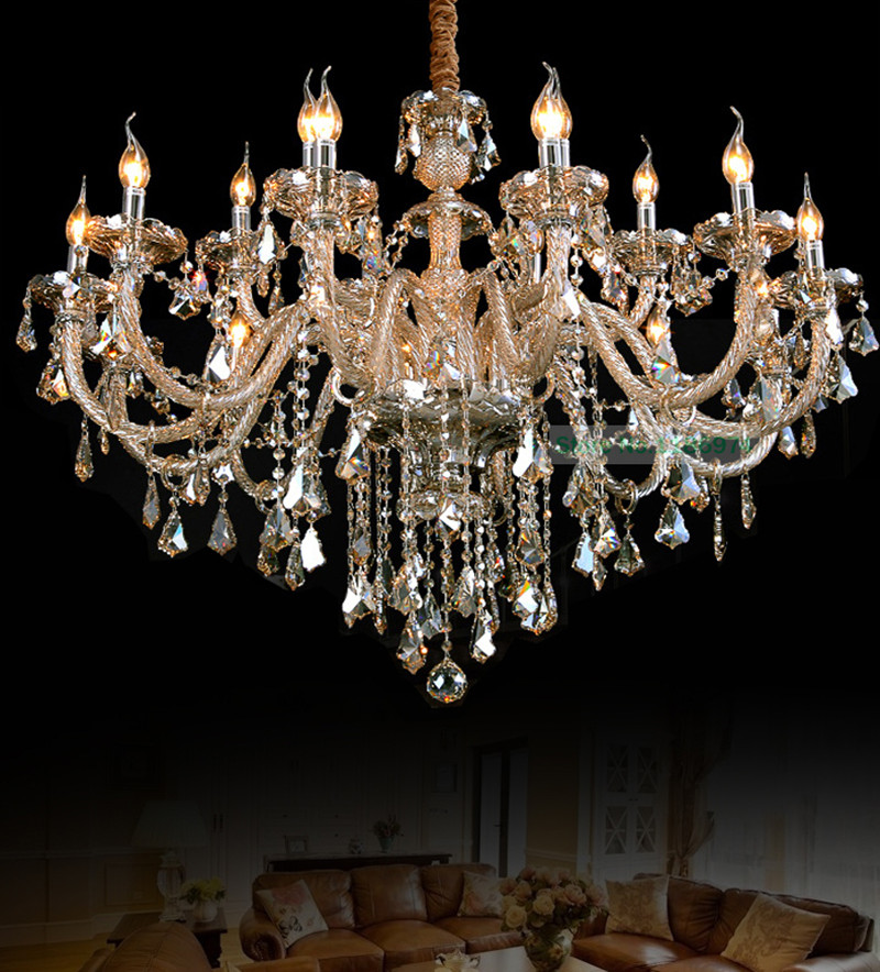 bohemian crystal chandeleir discount led lamps 18 lights wholesale low price chandeliers stylish crystal candle holder - Discount Chandeliers