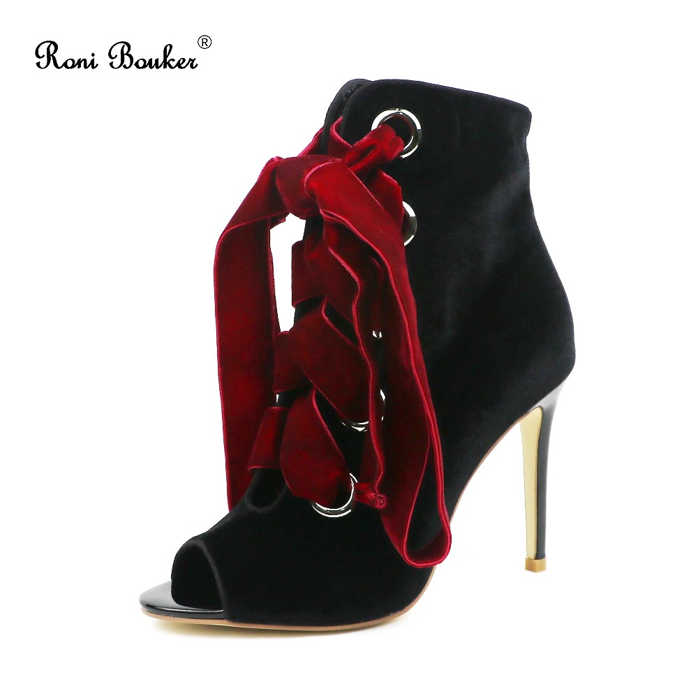 Roni Bouker Fashion Brand New Arrival Hot Velvet Peep Toe Lace Up Lady High Heels Women Ankle Booties Party Night Out Shoes
