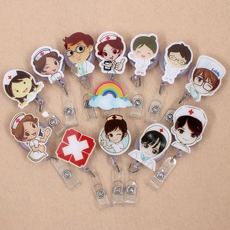 21 Styles Cartoon Nurse Retractable Pull Badge Reel ID Lanyard Name Tag Card Badge Holder Reels Doctor Nurse Supplies