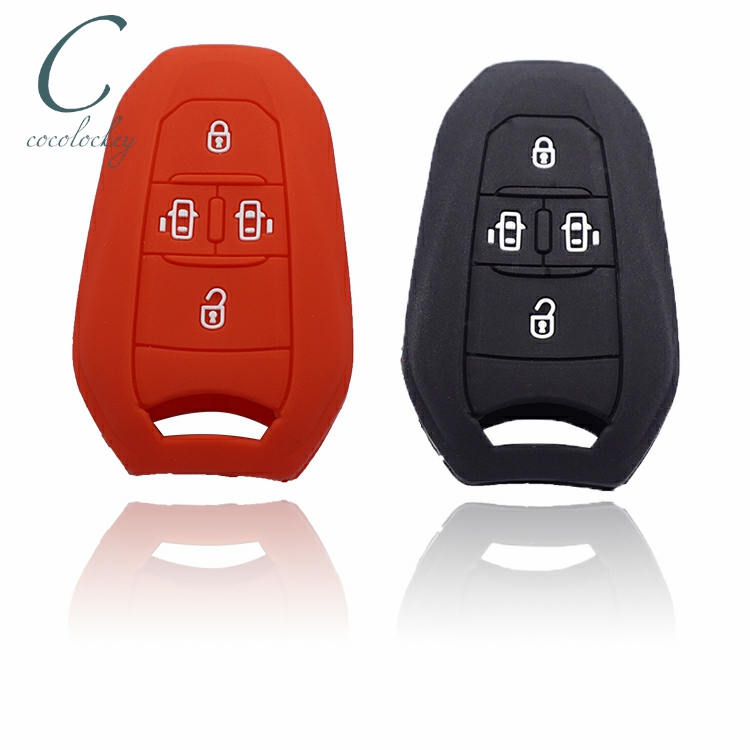 Cocolockey Silicone Car <font><b>Key</b></font> Fob Case Cover Fit for <font><b>Peugeot</b></font> 308 408 <font><b>508</b></font> 2008 3008 4008 5008 4buttons <font><b>Smart</b></font> Remote Keyless Entry image
