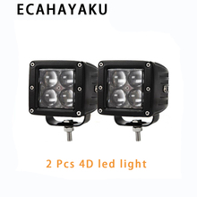 ECAHAYAKU 2PCS 20W 4D LED Work Light Flush Mount Pod Spot Flood Beam Offroad Driving Lights for Ford Jeep SUV ATV 4x4 4WD Truck
