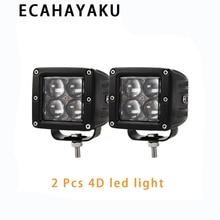 цена на ECAHAYAKU 2PCS 20W 4D LED Work Light Flush Mount Pod Spot Flood Beam Offroad Driving Lights for Ford Jeep SUV ATV 4x4 4WD Truck