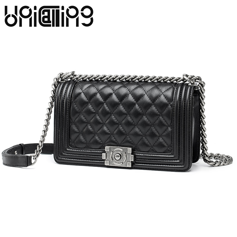 European and American Style Fashion Top grade Diamond lattice Chain women bag Genuine Leather sheepskin small shoulder bags fashion sheepskin mini women bag retro small fragrant bag chain diamond lattice small shoulder bags hasp women messenger bags