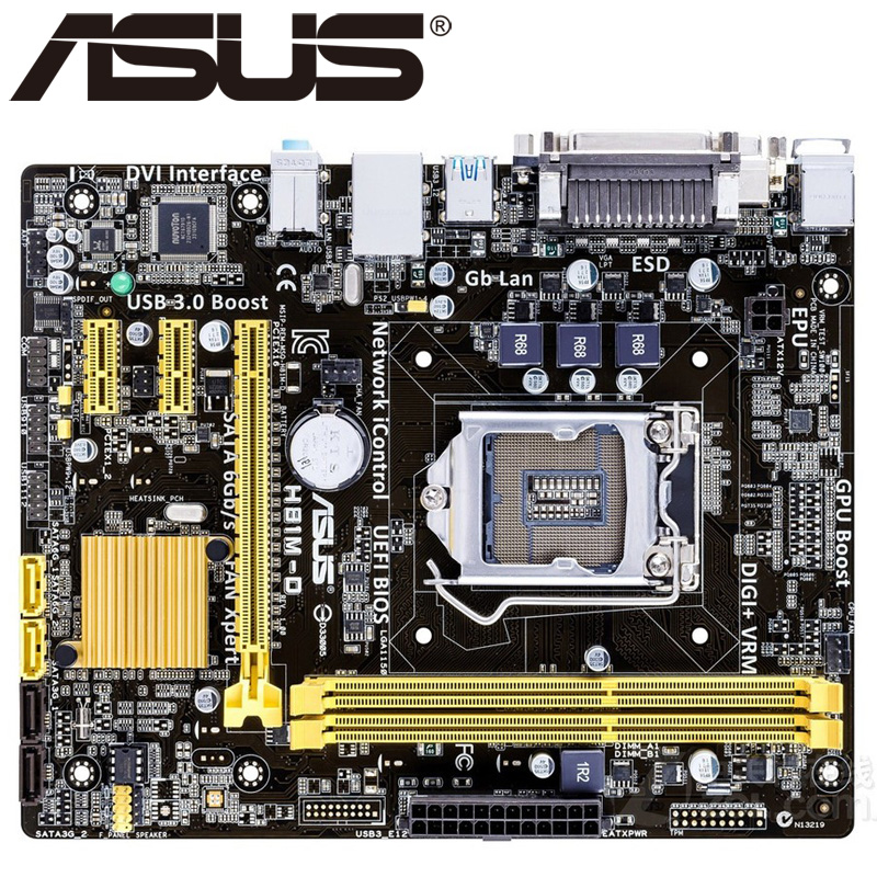 Asus H81M-D Desktop Motherboard H81 Socket LGA 1150 i3 i5 i7 DDR3 16G Micro-ATX UEFI BIOS Original Used Mainboard Hot Sale asus p8b75 m lx desktop motherboard b75 socket lga 1155 i3 i5 i7 ddr3 16g uatx uefi bios original used mainboard on sale