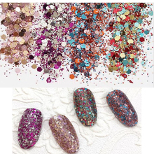 1box(10ml) Nail Sequins Paillette Glitter 0.2MM-1MM MIXED Sequins Powder 10ML Flake Glitters For Nails Art/Face/Body Nail Tip T3 alobon 10ml 120