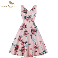 SISHION Women Floral Print Pink Dress With Pockets VD1058 Sexy Sleeveless V Neck Flower Swing Retro Vintage Summer Dress 2019