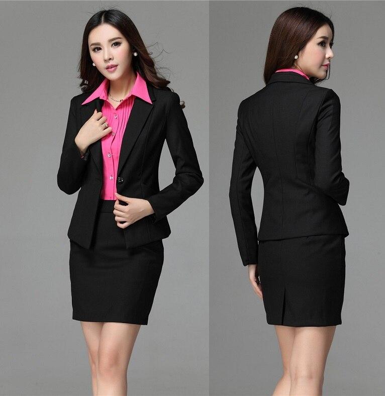 b2c5810042 New High Quality Fashion Slim Uniforms Style Formal Career Suits Blazer And  Skirt Office Ladies Work Wear Clothing Set S 4XL en Trajes de falda de La  ropa ...