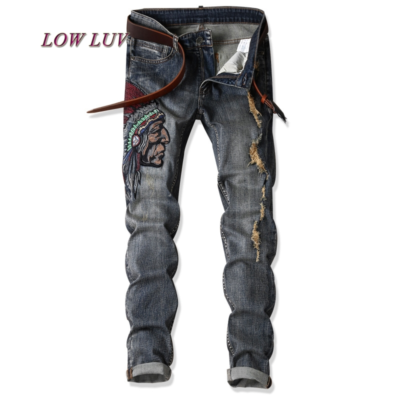 2017 New Autumn Fashion Hole Jeans Men Long Trousers skinny ripped distressed jeans Denim Pants Plus Size 29-38