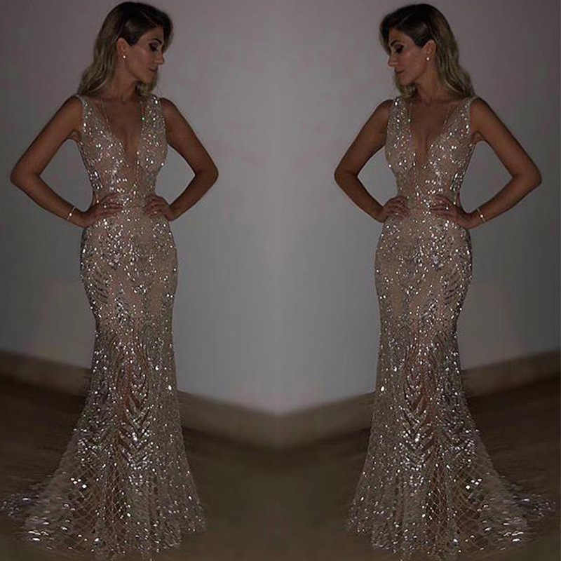 7e08d505f6c1 Sexy Women V Neck Party Dress Golden Sequin Maxi Long Dresses Bling bodycon  Dresses Silver Woman