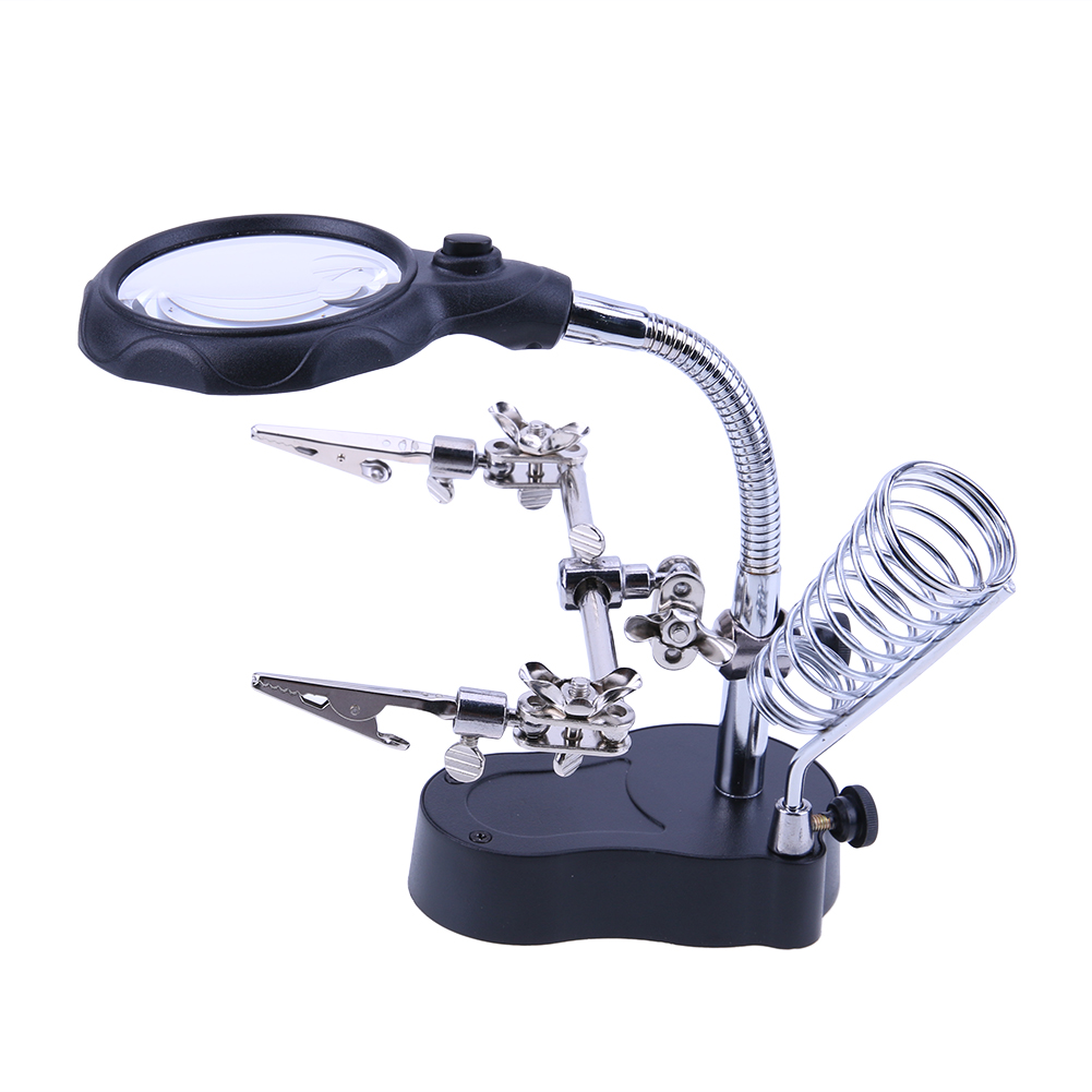 Lupa de soldadura con luz LED 3.5X-12X lente Clip auxiliar lupa de escritorio herramienta de reparación de soldadura de tercera mano
