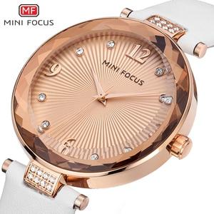 Image 3 - Mini foco relógios femininos à prova dwaterproof água marca de luxo moda casual senhoras relógio de quartzo rosa ouro aço inoxidável e pulseira de couro