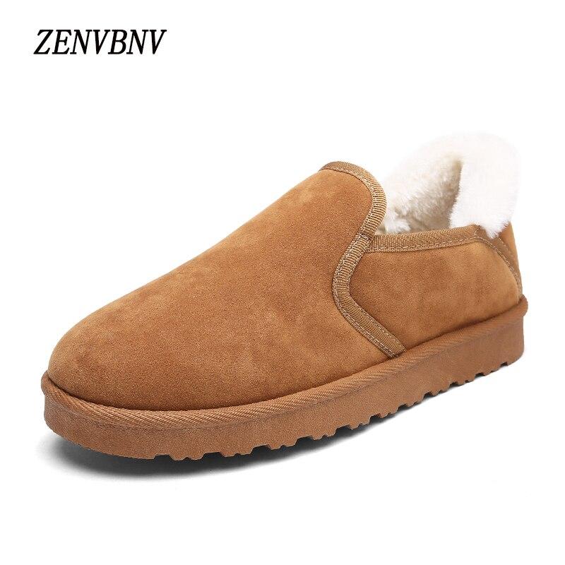 Zenvbnv 2017 Зимняя обувь Для мужчин из флока Для мужчин S Снегоступы удобные Туфли без каблуков Для мужчин зимние слипоны Теплые ботильоны модна…