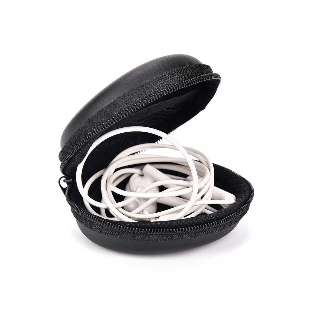1pc Mini monedero caja para monedas Auriculares auriculares SD TF tarjetas Cable negro almacenamiento llavero monederos
