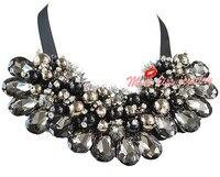 2014 Luxury Handmade Statement Chunky Beaded Beadwork Cluster Bib Wedding Bridesmaid Bridal Necklace Collar Gifts N