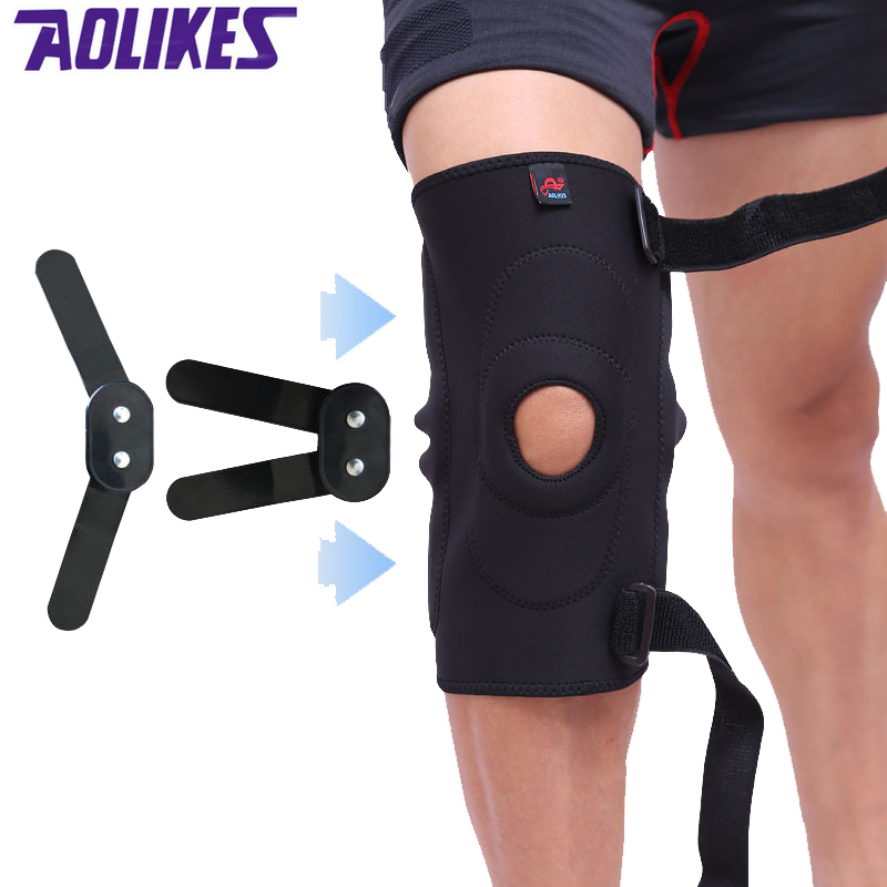 AOLIKES 1 Pcs Professional Mountaineering Training Cycling kneepad Knee Injury Recovery Fixed Supporting With 2 Folding Plates