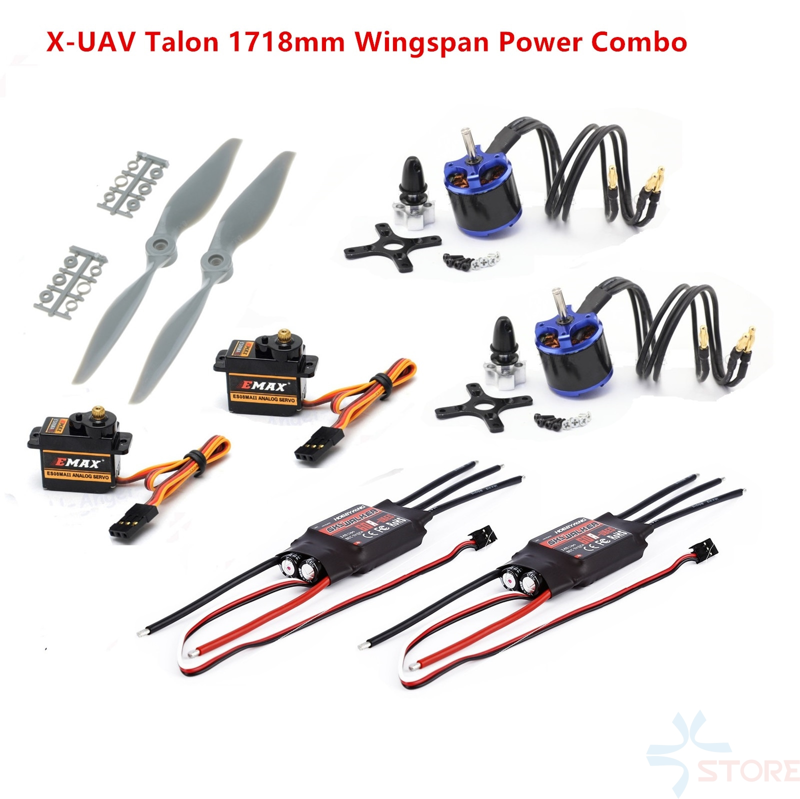 Fixed wing Power Combo For X-UAV Talon EPO 1718mm 3720 Motor KV1250+9x6 APC propeller+60A ESC+ 2psc ES08MA Servos fpv x uav talon uav 1720mm fpv plane gray white version flying glider epo modle rc model airplane