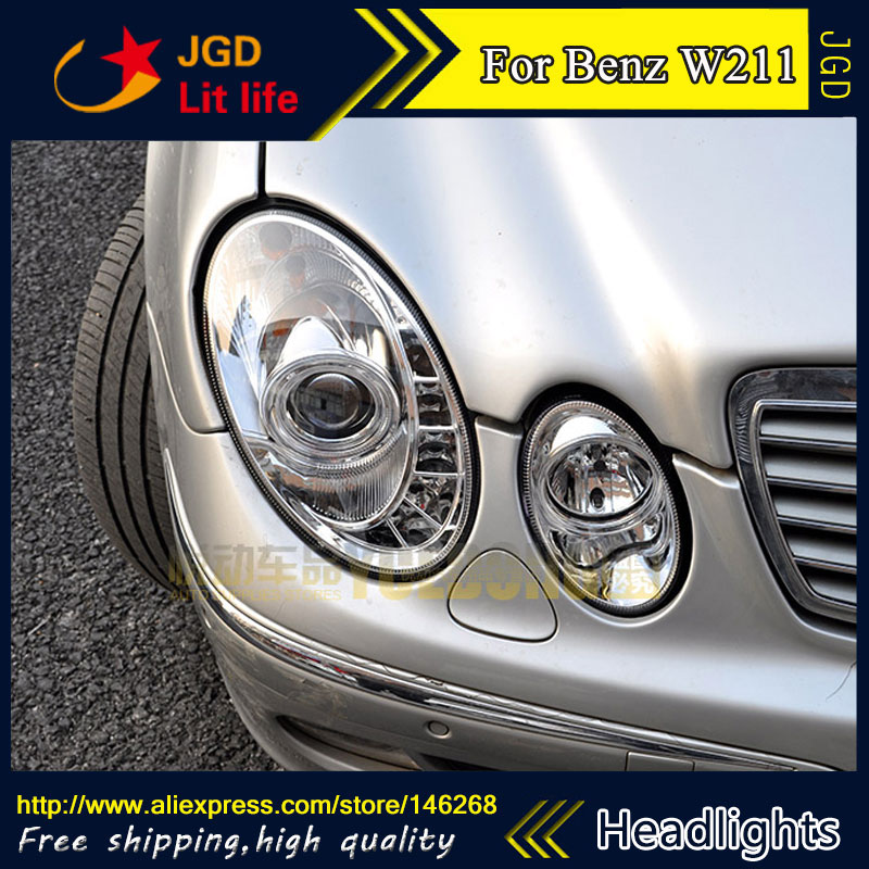 Free shipping ! Car styling LED HID Rio LED headlights Head Lamp case for Benz W211 E240 E200 E280 Bi-Xenon Lens low beam auto part style led head lamp for porsche 997 series led headlights for 997 drl h7 hid bi xenon lens angel eye low beam