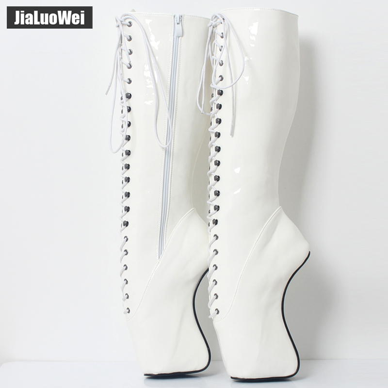 Image 4 - 2018 New Arrive 18CM High Heel Ballet Wedge Hoof Fetish Lace up Knee High Unisex Ballet Pinup Boots-in Knee-High Boots from Shoes