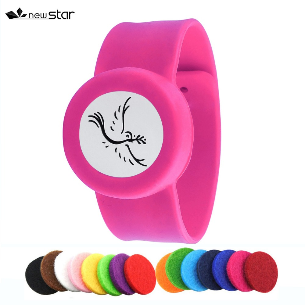 Girl's Mosquito Repellent Rose Color Silicone Bracelet Stainless Steel Diffuser Locket Essential Oil Slap Bracelet