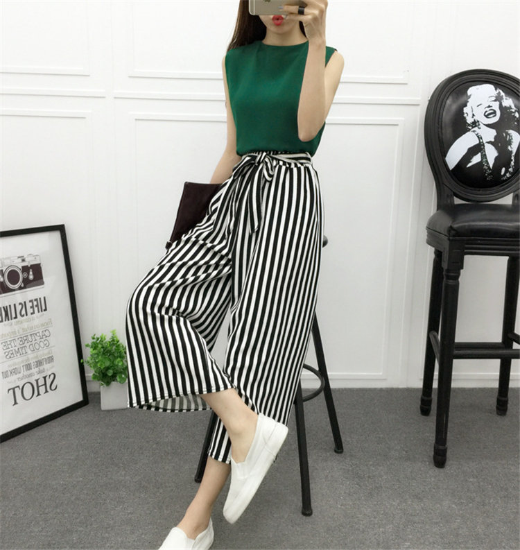 ca0d5522de25 Customize Casual Wide leg pants Black white striped Trousers Elastic Loose  chic Palazzo Lounge pant-in Pants & Capris from Women's Clothing on ...