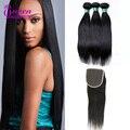 Malaysian Straight Hair 3 Bundles with Closure 4x4 Lace Closure With Bundles Malaysian Virgin Hair With Closure Human Hair Weave