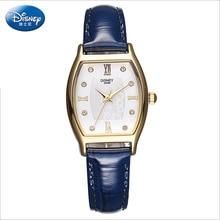 Disney бренда Кварцевые часы 30 м водонепроницаемый женщина Алмазов Tonneau Женские наручные часы