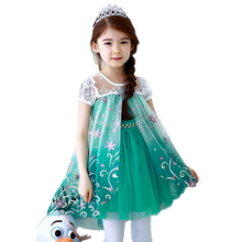2016 Summer Elsa Girls Fashion Princess Cartoon Vintage Dress Children Kids Cosplay Costume Custom Cosplay Party Dresses
