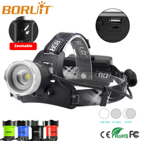 Boruit Zoomable Headlamp B13 LED Rechargeable Zoom Head Light 3 Mode Waterproof Torch Lights 1200LM XM L2 Power Bank Fishing