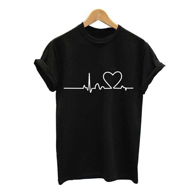 Women Heartbeat T Shirt Summer Short Sleeve Tshirt White Girl Cotton Tops Tee Shirt Femme Clothing 2019