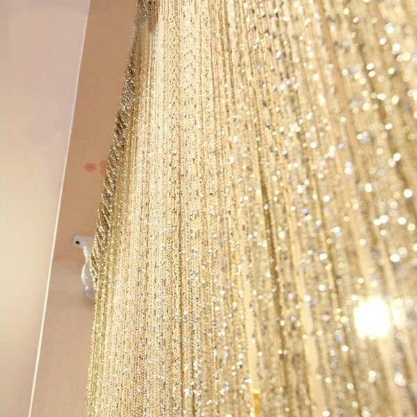 Shiny Tassel Flash Silver Line String Curtain Window Door Divider Sheer Curtain Valance Home Decoration