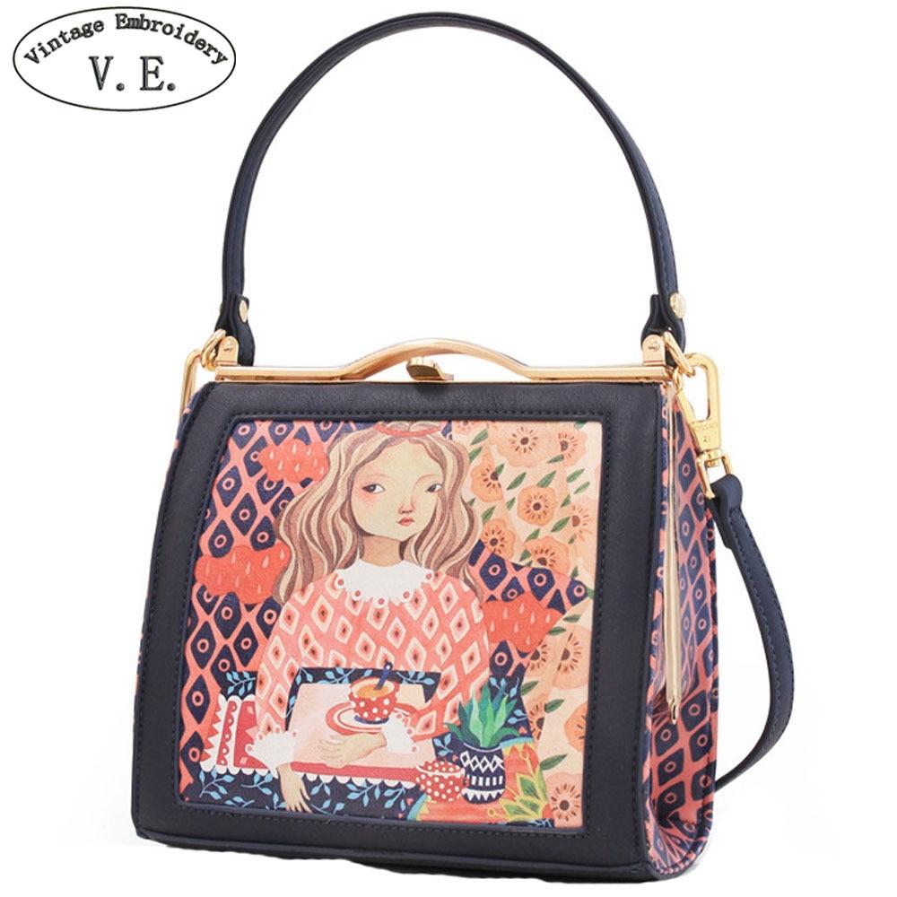 Vintage Embroidery Women Handbag Metal Frame Mori Girl Peekaboo Character PU Leather Mini Ladies Totes Shoulder Messenger Bags hanae mori paris vintage юбка винтажная 70e