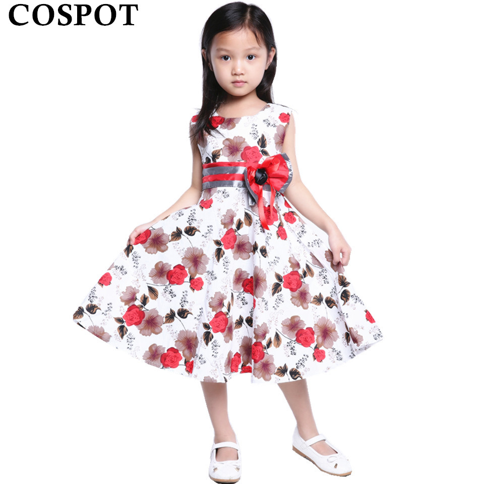 COSPOT Baby Girl Summer Dress Girls Cotton Casual Floral Dresses 3-15y Girl's Birthday Party Princess Dress 2018 New Arrival 20C uoipae girl party dress 2018 casual