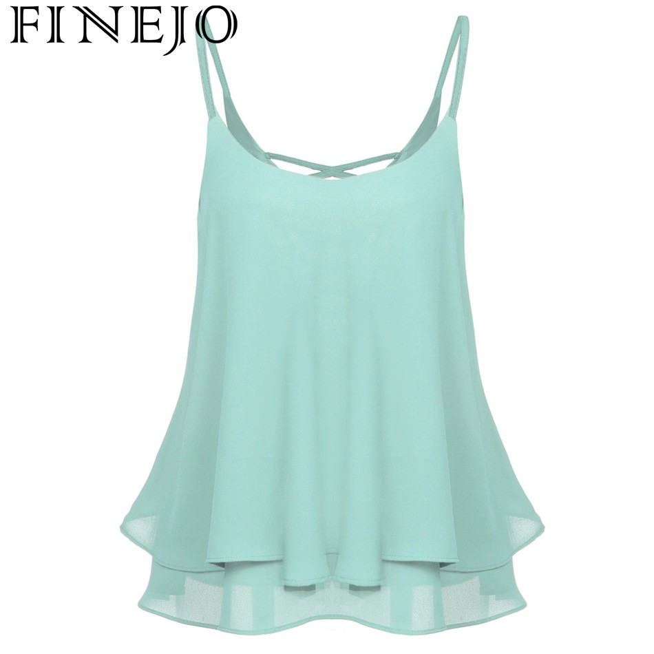 FINEJO Women Sexy Lady Sleeveless Strap Solid Chiffion Loose Camisole Vest Tank Top 2018 Camiseta Tops Blusa Spring summer