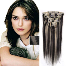 Brazilian Virgin Hair Clip In Hair Extensions 10PCS 120G Clip In Human Hair Extensions 16″-26″ P1B/613 Full Head Clip In Hair
