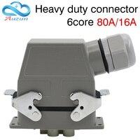 Conector resistente plugue retangular seis núcleo 80a 16a 500 v linhas superiores e laterais corredor quente impermeável único botão