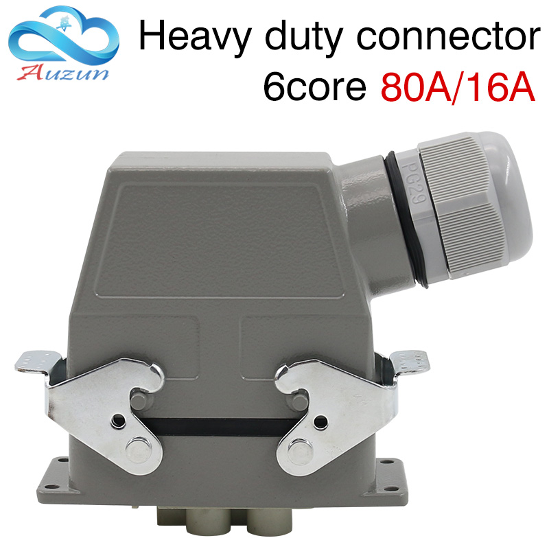 Heavy-duty connector rectangular plug six core 80A 16A 500V Top and side lines waterproof hot runner Single button heavy duty connectors hdc hee 018 1 f m 18pin 16a industrial rectangular aviation connector plug