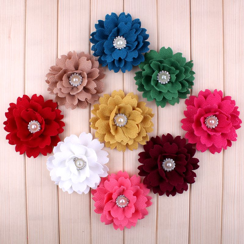 "(120pcs/lot)3.6"" 9Colors Fashion Fabric Satin Flower For Kids Artificial Pearl Alloy Button Flower Accessories  For Headbands"