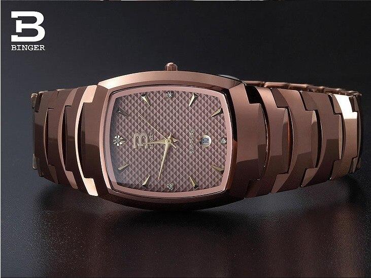 2018 Binger montre pour hommes en acier tungstène montre à quartz beerbaril or rose pleine montres en acier BG-0365