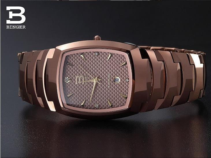 2018 binger 텅스텐 스틸 남성용 쿼츠 시계 beerbarrel 로즈 골드 전체 스틸 손목 시계 BG 0365-에서수정 시계부터 시계 의  그룹 1