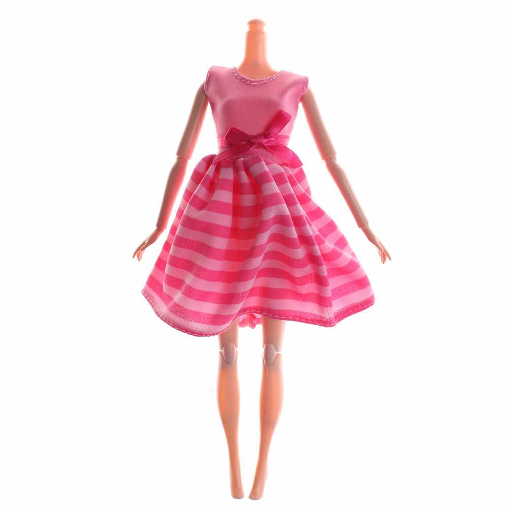 Zabawki dla dzieci prezent moda sukienka Handmade Party randki obiad Mini suknia wzór w paski Bowknot ubrania dla Barbie akcesoria dla lalek
