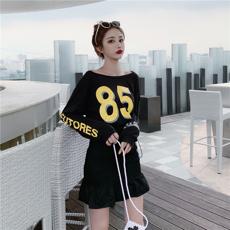 Summer Clothes for Women Two Piece Outfits Set Digital Print Long Sleeve T Shirt Pleated Stretch Sexy Bag Hip Fishtail Skirt in Women 39 s Sets from Women 39 s Clothing
