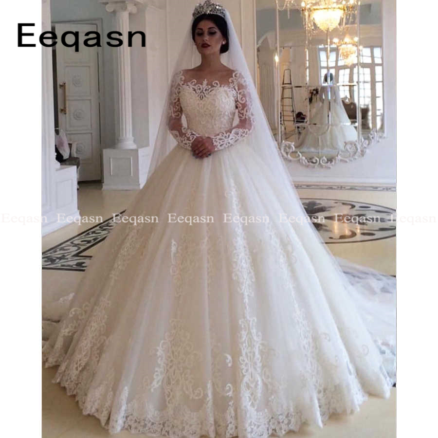Illusion Long Sleeve Puffy Wedding Dresses 2020 White Lace Ball Gown Women Bride Dress Ivory Wedding Gown Custom Made