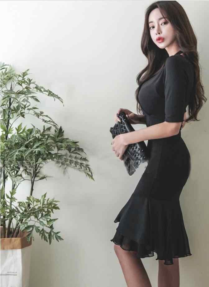 משלוח חינם חדש קוריאני V צווארון Slim חבילת ישבן שיפון נשים שמלת bodycon שמלה