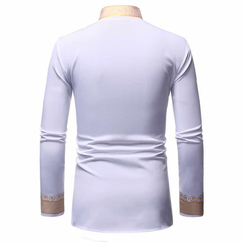 Черная африканская рубашка с принтом Дашики, мужская мода 2019, хип-хоп, уличная одежда, Afrian, мужская Тонкая Рубашка с длинными рукавами, Мужская сорочка