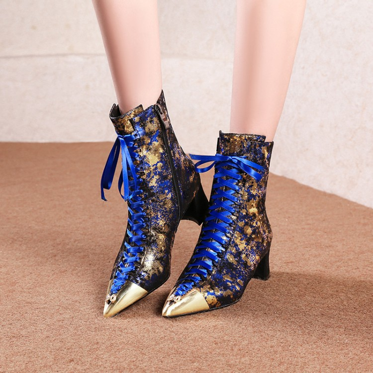 US4-11 Womens Metal Pointed Toe Ankle Boots Chunky Gold Bling Decor Block Heel Shoes Chelsea Genuine Leather Plus Size 2018 new tassels punk womens ankle botas retro pointed toe shoes comfort block med heel chelsea boots real leather knight boots