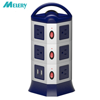 Vertical Power Strip Surge Protector 11 AC Outlets USB Socket with USB Individual Switch Control 1.8m Retractable Extension Cord